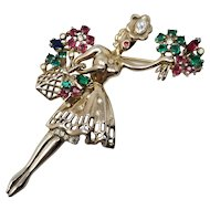 Trifari Crown 1947 Flower Girl Sterling Silver Pin Brooch Verified Book Piece