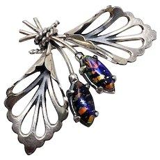 Mexican Sterling Silver Faux Opal Bouquet Pin/Brooch
