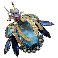 DeLizza & Elster Juliana Vintage AB Glass Bug Insect Beetle Collector Brooch Pin