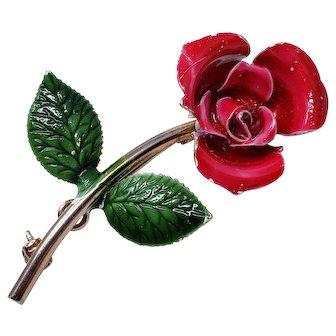 Vintage Enameled Metallic Flower Brooch