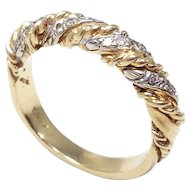.16 Carat Diamond 14 Karat Gold and Platinum Stylized Twisted Ring Band, 1970