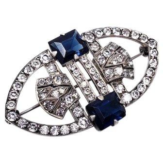 Art Deco Sterling Silver Sapphire & Clear Rhinestone Handmade Brooch/Pin