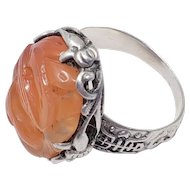Antique Ornate Chinese Carved Carnelian Sterling Silver Ring
