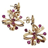 Vintage 2ct Ruby Dangling Earrings In 14K Gold