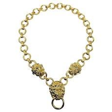 Kenneth Jay Lane Lion's Mark Doorknocker Chain Necklace