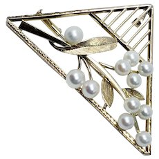 Art Deco, Nouveau Pearl Floral Triangular Pendant/Pin/Brooch In Gold