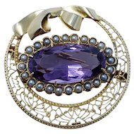 Vintage Natural Amethyst & Pearl Brooch in 14KT Gold