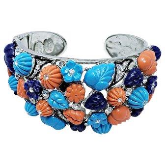 Kenneth Jay Lane KJL Tutti Frutti Hinged Cuff Bracelet
