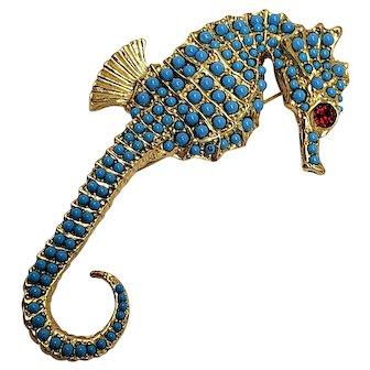 Kenneth Jay Lane KJL Embellished Seahorse Brooch/Pin