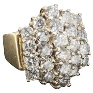 Certified 4 Carat 24 Count Diamond Statement Ring in 14 Karat Yellow Gold