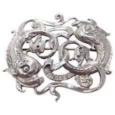 Cini Zodiac Pisces Brooch in Sterling Silver, 1950s