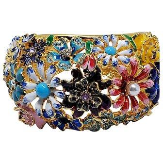 Kenneth Jay Lane KJL Garden Party Floral Enamel Hinged Cuff Bracelet