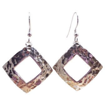 Sterling Silver Square Motif Dangle Earrings - Mexico