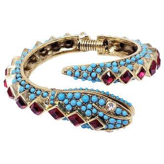 Kenneth Jay Lane KJL Faux Ruby & Turquoise Snake Bangle Bracelet