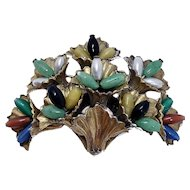 Vintage Miriam Haskell Colorful Glass Bead Brooch Pin Unsigned