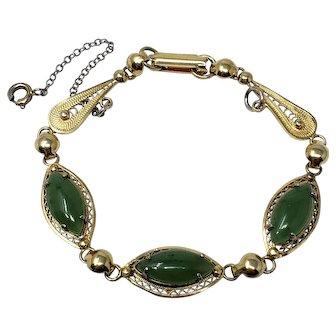 Vintage Sorrento Sterling Goldtone Filigree Link Bracelet with Real Jade Cabochons