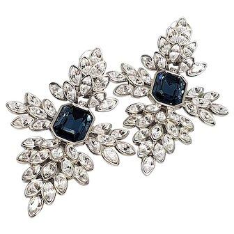 Kenneth Jay Lane KJL Clear & Sapphire Crystal Clip Earrings