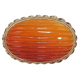 Antique Carved Natural Carnelian Handmade Brooch in Open Back Gilt Brass