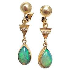 Vintage Opal & Diamond Dangling Teardrop Clip on Earrings in 14K Gold
