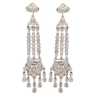 Antique Art Deco Rhodium Plated Crystal Dangling Screwback Earrings