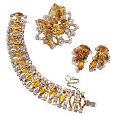 Vintage Demi Parure Aurora Borealis & Amber Crystals Earrings Bracelet Necklace