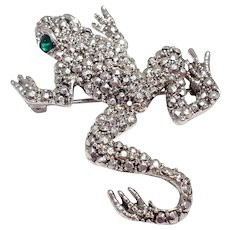 Hobe Pave Marcasite and Silver Frog Brooch Pin, 1940s