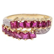 .39 Carat Ruby .06 Carat Diamond 14 Karat Gold and Platinum Ring, 1800s