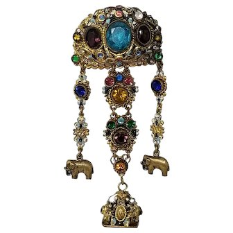 Vintage Czech Dangling Ornate Brooch with Crystals and Floral Enameling in Gold Tone