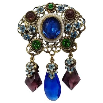 Vintage Czech Dangling Ornate Brooch with Crystals Floral Enamel and Faux Pearls
