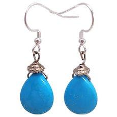 Sterling Silver Sleeping Beauty Turquoise Dangle Earrings