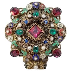 Vintage Czechoslovakia Brooch Pin with Crystals, Faux Pearl, and Enamel in Brass