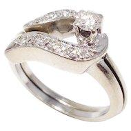 .28 Carat Diamond 14 Karat Gold Two Piece Wedding Ring Band Size US 6.5