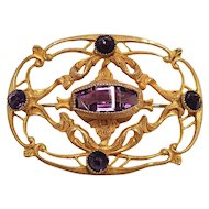 Victorian Vermeil Amethyst-Colored Crystal Filigree Brooch, Early 1900s