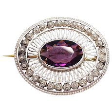 Victorian Amethyst-Colored Crystal Brooch Pin Sterling Silver Filigree Setting