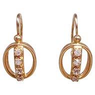 Soviet Era 583 Gold Fianit Russian Earrings Hinged Hook Closure, circa 1970s