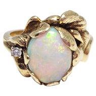 Vintage Opal & Diamond 14K Floral Ring by Strell Sz 6