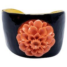Kenneth Jay Lane KJL Coral Dahlia Flower Black Enamel Cuff Bracelet
