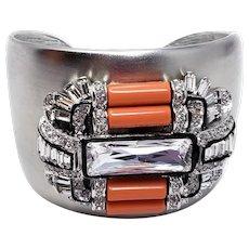 Kenneth Jay Lane KJL Bold Gray Coral & Crystal Art Deco Cuff Bracelet