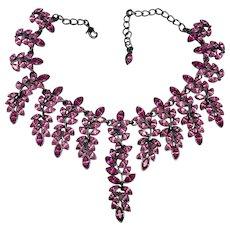 Kenneth Jay Lane KJL Marquise Crystal Black Cascading Collar Necklace