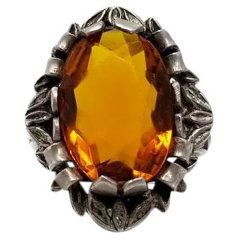 Vintage Amber Colored Crystal Decorative Sterling Silver Ring