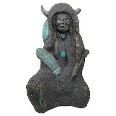 Antique 1700s Native American Shaman Painted Sandstone Sculpture