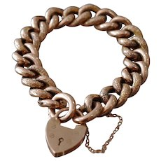 Antique Victorian 9k Rose Gold Heart Lock Bracelet