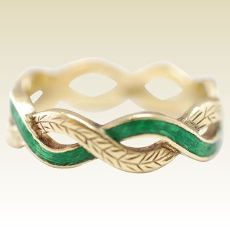 18k Gold Band Engraved with Green Enamel
