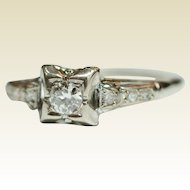 Vintage Classic Diamond Engagement Ring