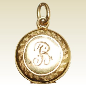 Vintage 10K Gold Locket Hand Engraved R & '24