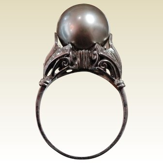 Art Deco Grey Cultured Pearl Ring