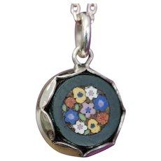 Micro mosaic & silver pendant