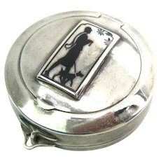 Vintage Art Deco Sterling Silver Enamel Silhouette Compact