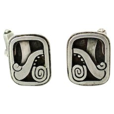 Reveriano Castillo Taxco Mexico Sterling Silver Modernist Cufflinks