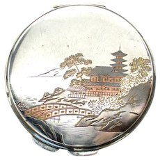 Japanese 950 Silver Engraved Vintage Compact w/ Original Box T. Muto Tokyo